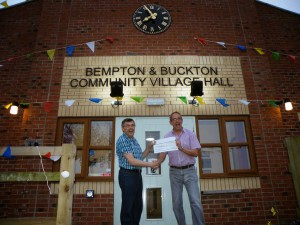 Presentation of the cheque from North Wolds Lions. A very generous contribution to the purchase of the outside clock.