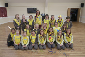 Bempton Village Hall 1st Bempton Brownies doing a sponsored skip to raise funds for the Nepal disaster. NBFP PA1524-4a Brownies