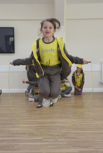 Bempton Village Hall 1st Bempton Brownies doing a sponsored skip to raise funds for the Nepal disaster. NBFP PA1524-4e