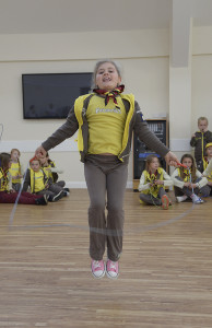 Bempton Village Hall 1st Bempton Brownies doing a sponsored skip to raise funds for the Nepal disaster. NBFP PA1524-4g