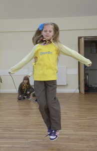 Bempton Village Hall 1st Bempton Brownies doing a sponsored skip to raise funds for the Nepal disaster. NBFP PA1524-4h