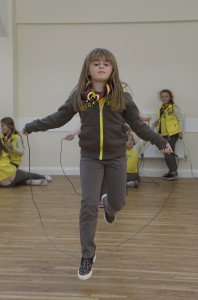 Bempton Village Hall 1st Bempton Brownies doing a sponsored skip to raise funds for the Nepal disaster. NBFP PA1524-4j